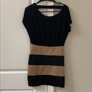 Black and Tan striped mini dress